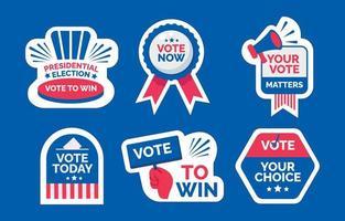 conjunto de pegatinas de elecciones generales de EE. UU. vector