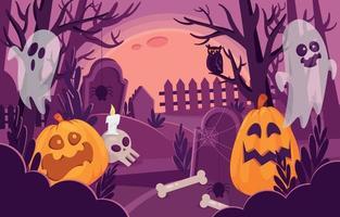 Halloween Night Scenery Background vector