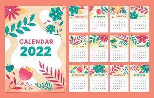 2022 Calendar Floral Theme vector