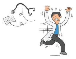 Cartoon doctor or vet is scared, throws stethoscope and papers and runs away, vector illustration