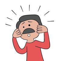 caricatura, bigote, padre, hombre, sorprendido, vector, ilustración vector