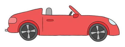 Cartoon open top luxury red car, vector illustration