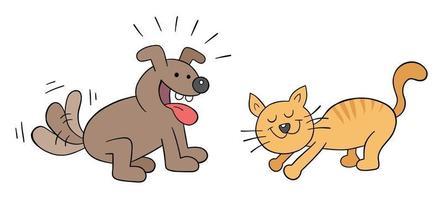 Cartoon happy dog and cat friendship, vector illustration