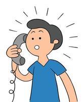 Cartoon man talking on landline phone and surprised, vector illustration