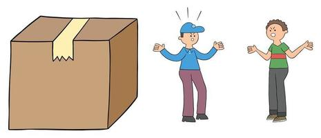 Cartoon courier discusses with customer about big parcel, vector illustration