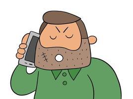 Hombre criminal de dibujos animados hablando por teléfono inteligente, ilustración vectorial vector