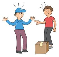Cartoon courier brings parcel, discusses with customer, vector illustration