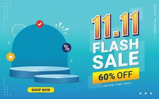 Vector of 11.11 Shopping day Poster or banner with blank product podium scene