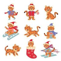 Set of cute little tiger characters in different poses. vector
