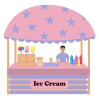 Stall counter with ice cream. vector