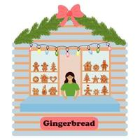 Stall counter with gingerbreads for Christmas and New Year. vector