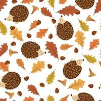 Autumn seamless pattern. Funny hedgehogs with oak leaves, acorns and mushrooms. vector