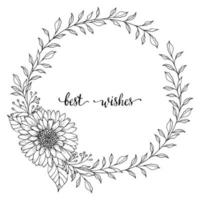 Hand drawn wreath. Romantic floral design element made of branches, leaves, twigs and flowers. vector