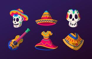 Dia De Los Muertos Costume Party Sticker Collection vector