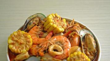 spicy barbecue seafood - Squids mussel and shrimps video