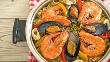seafood paella with prawns, clams, mussel and octopus video