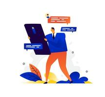 Illustration of a businessman and a phone. Vector. A man chatting. Metaphor. Modern means of communication and communications. Online conversation through messengers. Flat business illustration. vector