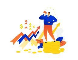 Ilustración de un hombre de negocios hablando por un megáfono. vector. la caída de acciones, activos, bonos. los tipos de cambio. Gráficos de monedas a la baja y al alza. aumentos de precios e inflación. vector