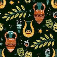 Seamless pattern with antique amphora, harp, olive branch, torch, mask vector