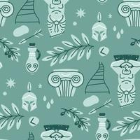 Seamless pattern with antique statue of man, column, olive, vase vector