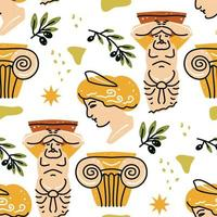 Seamless pattern with antique statue of woman, man, column, olive vector