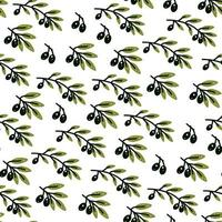 Olive branch seamless pattern in hand drawn style vector