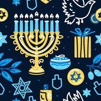 Happy Hanukkah seamless pattern with menorah, dreidels, donuts vector