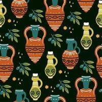 Seamless pattern with ancient Greek vases, amphoras and olive branch vector