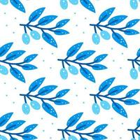 Seamless pattern with stylized blue olive branch on white background. vector
