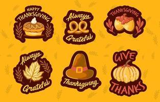 Set of Thanksgiving Sticker Holiday Season vector
