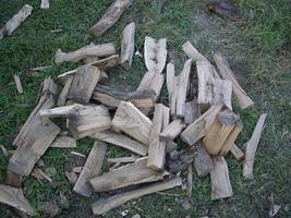 Chopping wood from palen for the winter for the stove photo