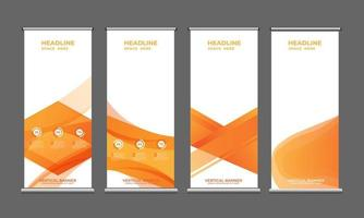 roll up standard size banners. standing banner template design collection vector