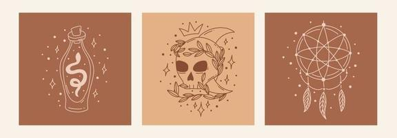 Boho mystic doodle esoteric set. Magic line art poster with dreamcatcher, poison bottle, skull. Bohemian modern vector illustration