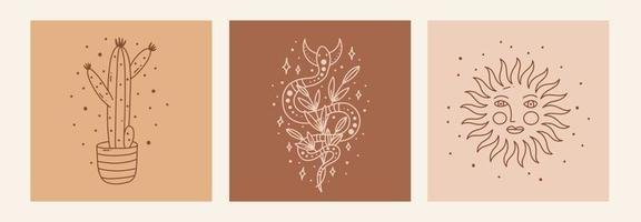 Boho mystic doodle esoteric set. Magic line art poster with cactus, sun, snake and moon. Bohemian modern vector illustration
