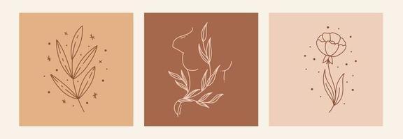 Boho mystic doodle esoteric set. Magic line art poster with leaf, woman body, flower. Bohemian modern vector illustration