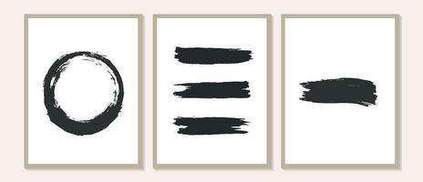 Contemporary Poster with organic abstract Brush Stroke shapes and line Black and White Wall Art. Pastel Ink Line Templates. Boho background in minimalist mid century style vector Illustration