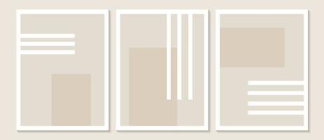 Trendy contemporary Abstract wall art, Set of 3 boho art prints, Minimal black shapes on beige. Creative Mid-century geometric minimalist artistic hand painted composition. vector