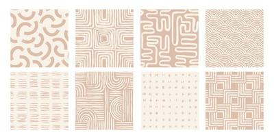 Set Aesthetic Contemporary printable seamless pattern with abstract line brush stroke shapes and line in nude colors. Pastel boho background in minimalist mid century style vector Illustration wall