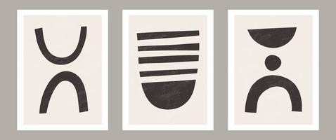 Trendy contemporary Abstract wall art, Set of 3 boho art prints, Minimal black shapes on beige. Creative Mid-century geometric minimalist artistic hand painted composition. Posters for wall decor vector