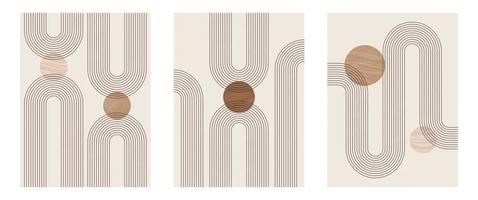 Set of Mid century modern minimalist art print with organic natural shape. Abstract contemporary aesthetic background with geometric Minimal black line on beige. Boho wall decor. vector