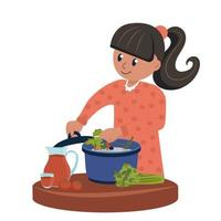 The child plays a childish game the cook prepares food. Cartoon vector illustration isolated