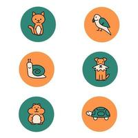 Pets colored icons. Hamster, cat, dog, bird, turtle, snail vector