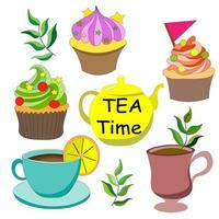It's time to drink tea. Delicious colorful cupcakes with buttercream and decorations, cup of tea, coffee with yellow kettle. Have nice cup of tea. Vector illustration