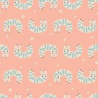 Vector simple and cute cat animal illustration motif seamless repeat pattern kids fabric digital art fashion textile