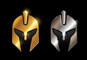 Golden and Chrome Knight Helmet Vector Sign