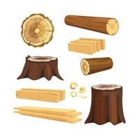 Wooden industry lumber trunks stacking log forestry branches collection vector
