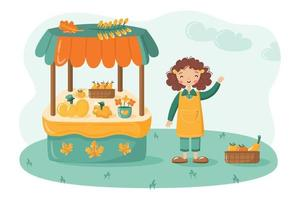 Local food market stall with fruits and vegetables and cute farmer girl. Organic farm products on counter for sale. Autumn outdoor fair. Flat vector illustration in cartoon style.