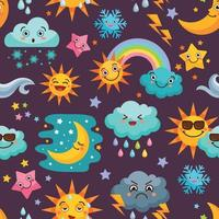 Various funny weather icons set cartoon seamless pattern with sun rain clouds illustration vector