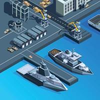 buques de guerra muelle armada estadounidense conjunto de imágenes isométricas vector