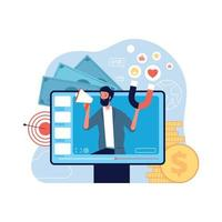 Video marketing concept self promo video blogging network social communication advertising vector
